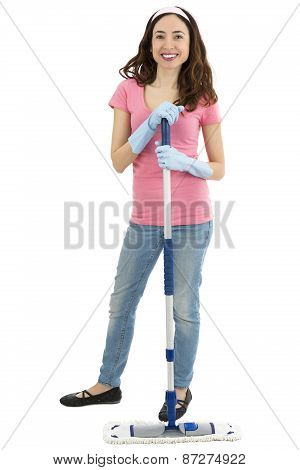 Cleaning Woman Standing With A Mop In Her Hand