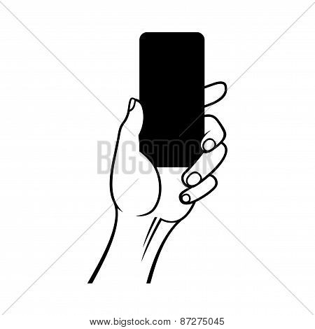 Hand Holding Smart Phone on White Background. Vector