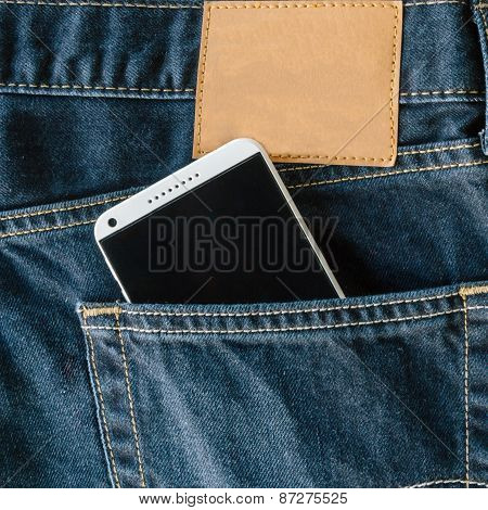 Blue Denim Jeans Pocket With Mobile Phone.