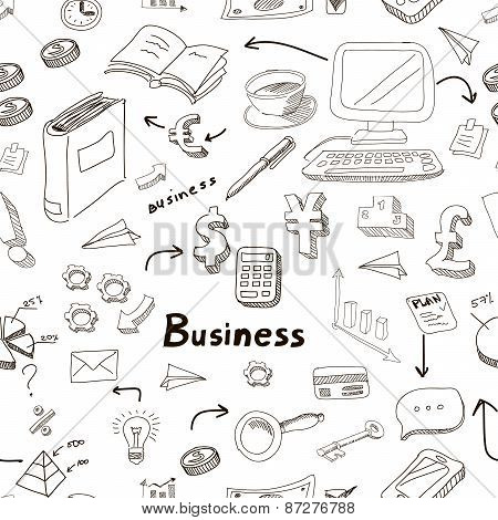 business doodles seamless pattern background with diagrams, humans and ideas bulbs