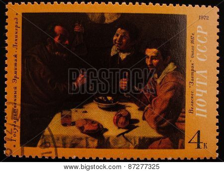 Leningrad, Ussr-circa 1972: Postage Stamp Edition Of The State Hermitage Museum Picture Shows An Ima