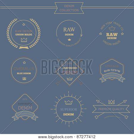 Vintage labels denim typography, t-shirt graphics, carton, emblems  s