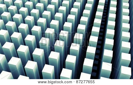 Abstract Digital Background With Blue Columns Array Pattern