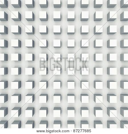 Relief Cubes Pattern On White Wall, 3D Illustration