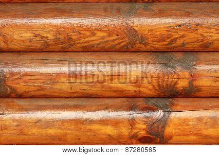 Wood log wall