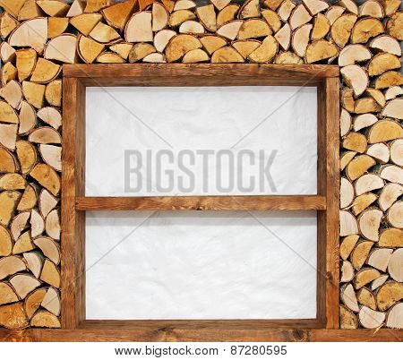 Empty Wooden Shelves With Firewood Decoration
