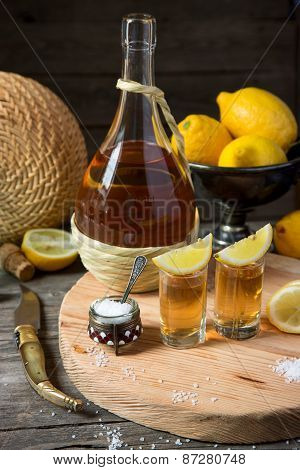 Tequila With A Lemon And Salt
