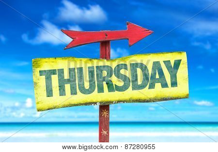 Thursday sign with beach background