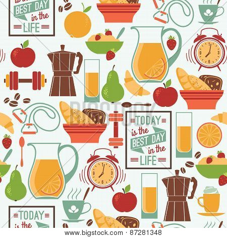 Vector Modern Flat Design Seamless Pattern. Good Morning.
