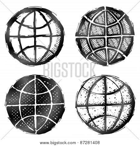 Hand Drawn Globe Symbol