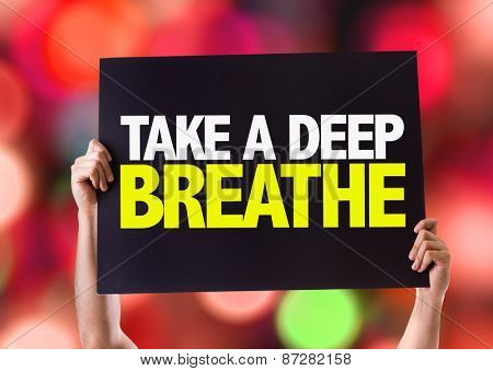 Take a Deep Breathe card with bokeh background