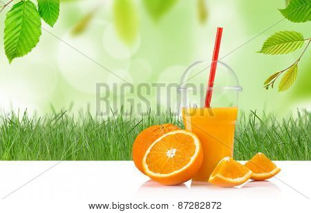 Fresh orange juice, healthy drink on wooden table.