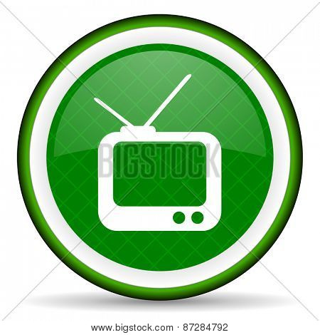 tv green icon television sign