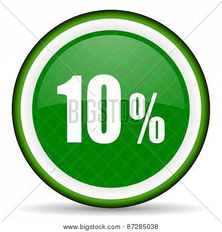 10 percent green icon sale sign