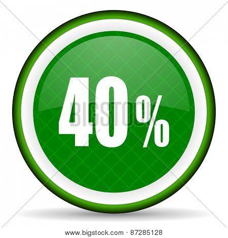 40 percent green icon sale sign