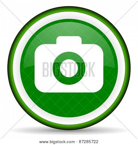 photo camera green icon photography sign