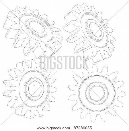 Collection of wire-frame gears. Vector