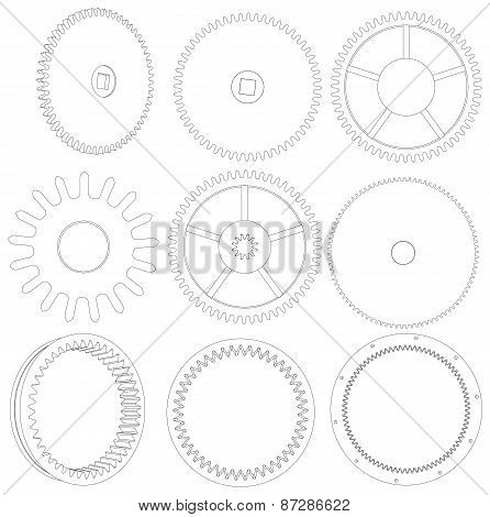 Several different wire-frame gears. Vector