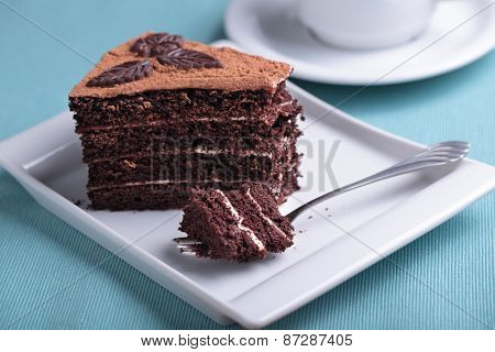 Chocolate cake and a cup of coffee on a table