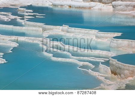 Water in travertine terraces of Pamukkale, Turkey