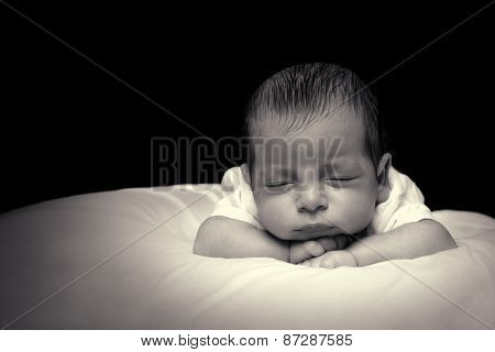 Newborn Baby Boy On Black