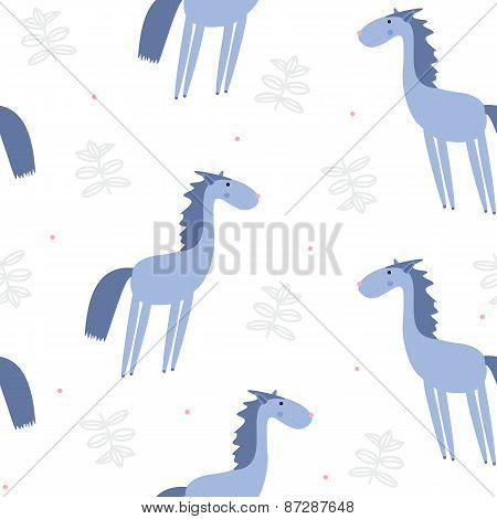Seamless pattern horses