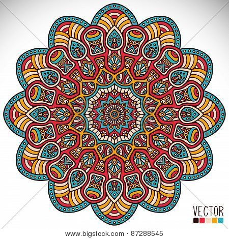 Mandala. Round Ornament Pattern. Vintage decorative elements. Hand drawn background.