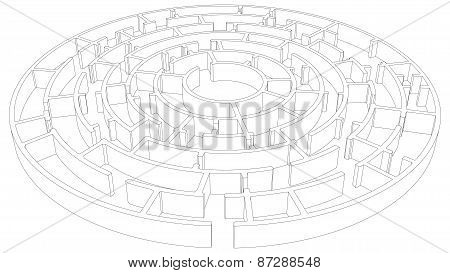 Wire-frame round tangled maze. Vector