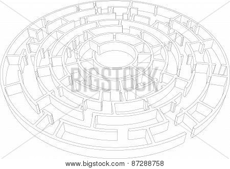 Round intricate labyrinth. Vector