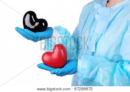 Decorative heart in doctors hands, isolated on white