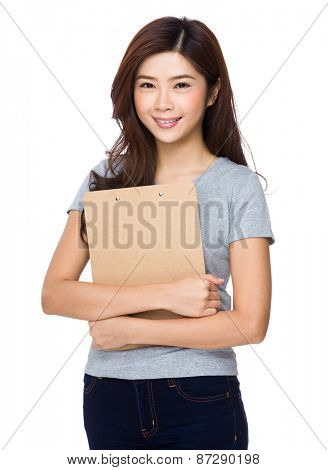 Young girl with clipboard