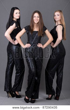 Three Girls In Evening Attire