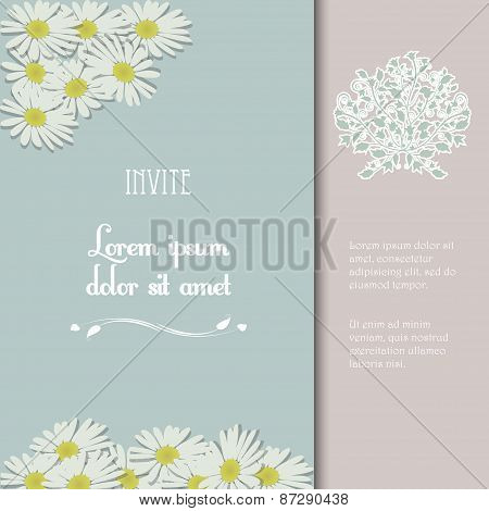 Invite With Flowers And Sample Text