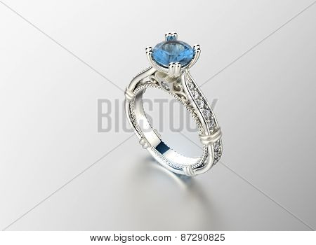 Golden Engagement Ring with Aquamarine. Jewelry background