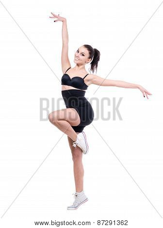 woman gymnast, isolated on white