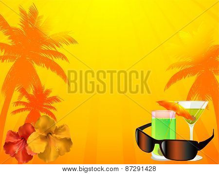 Summer Background With Drinks Sunglasses