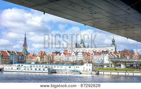 Panoramic View Of Szczecin Waterfront.