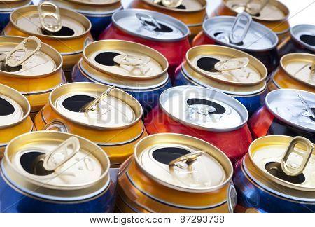 Empty beer aluminum cans . Close up