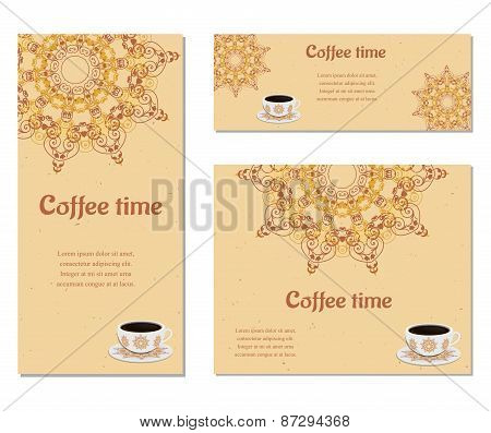Set of three cards with cup of coffee,  ornate eastern round elements