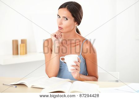 Adult Beautiful Woman Wondering While Studying