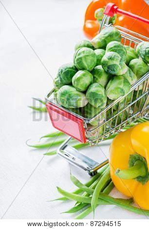 Fresh Vegetables. Brussel Sprouts, Bell Peppers And Corn