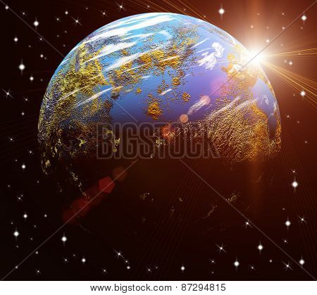 Our earth in cosmos and bright sun. Elements of this image furnished by NASA
