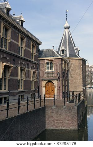 The Hague , The Netherlands-april 7 , 2015: Tower Of The Prime Minister Of Holland At The Binnenhof