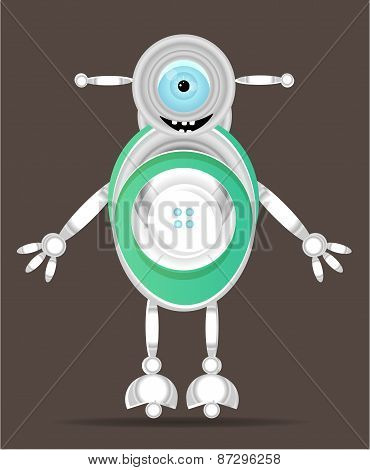 Modern silver, green, isolated, smiling robot, with one large, blue eye, dark  background