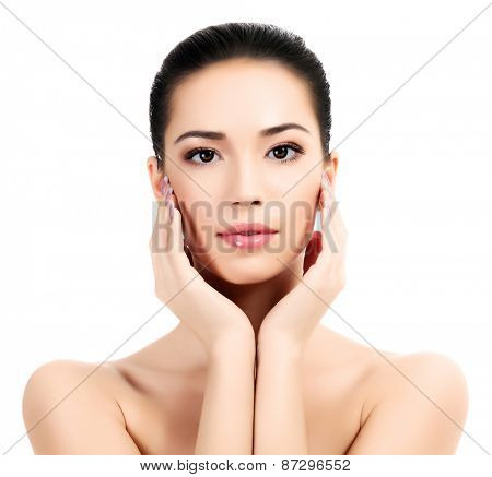 Beautiful face of young adult woman with clean fresh skin, white background, isolated, copyspace