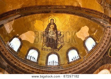 Blessed Virgin Mary With Baby Jesus Byzantine Mosaic Art On The Hagia Sophia Apse In Istanbul, Turke