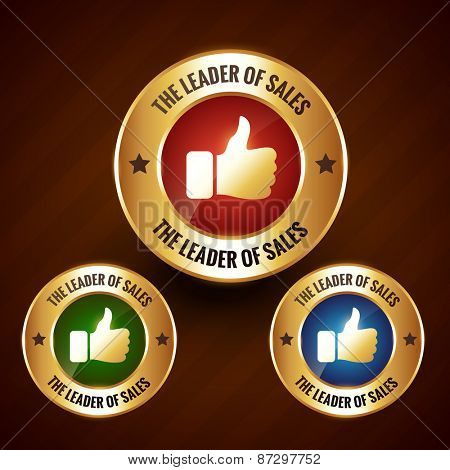 leader of sales vector golden label badge design with set of three different colors