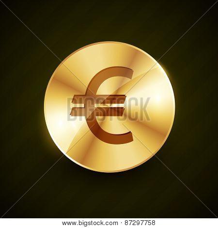 golden euro symbol coin shiny vector design illustration