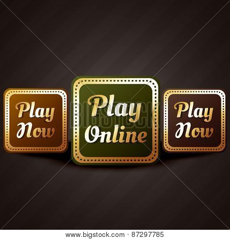 play online casino style game button vector design illustration
