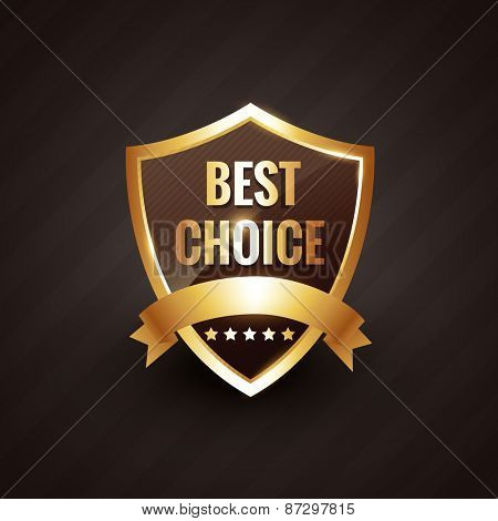 best choice golden label symbol design with ribbon and stars